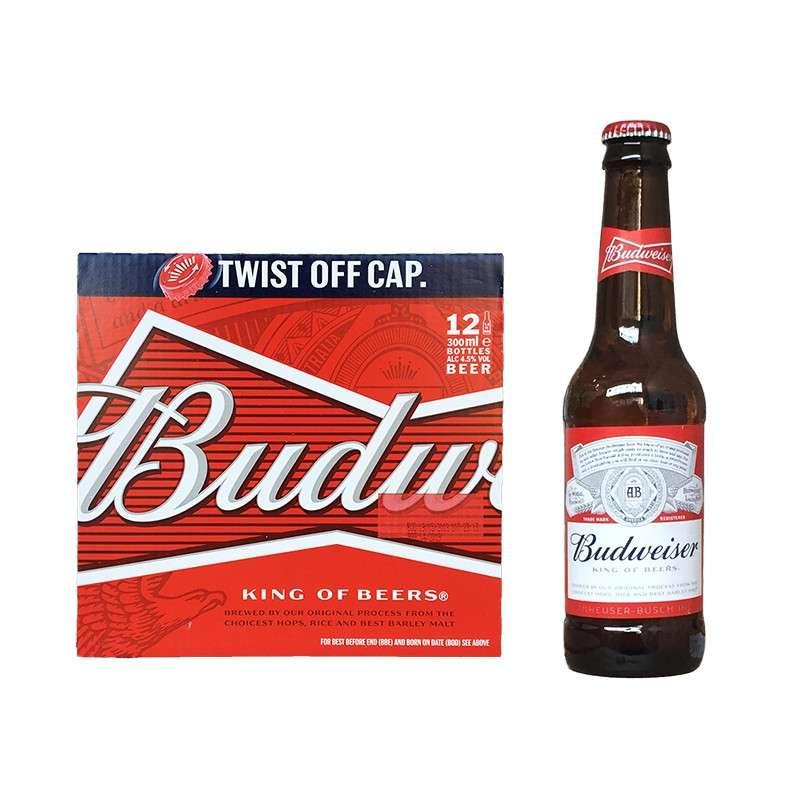 比德威瑟/百威(红旋盖)啤酒  300ml*24瓶
