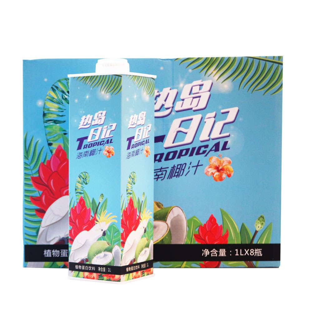 热岛日记海南椰汁植物蛋白饮料1L*8瓶